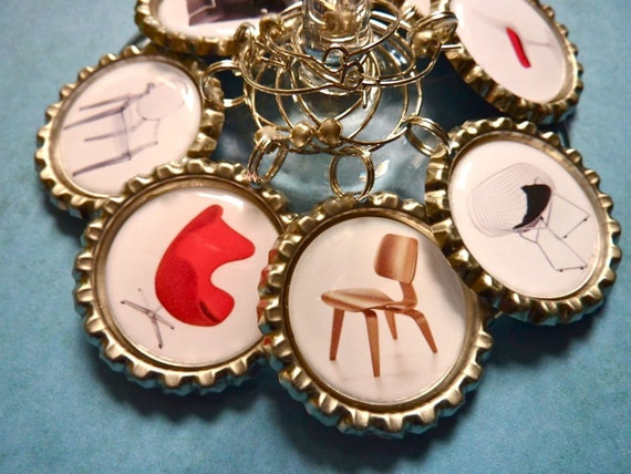Mid Century modern wine charms. Contemporary chairs party favors.