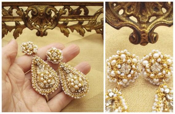 Dulcinea Bridal Chandelier Earrings- Teardrop. Vintage Rhinestones. White Pearls. Gold Lace. Taupe Silk