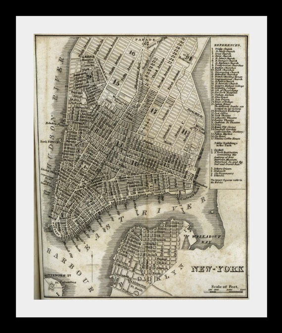 new york city vintage map NYC 1842 atlas map east coast print - Free Shipping