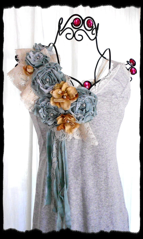 Женская Оптовая Танк рубашки летняя туника украшенный розами цыганский Роза городского потертый шик ручная Рука окрашенных цветов ткани