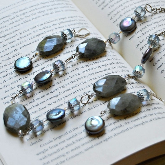 Labradorite, Pearl, Crystal, Glass and Sterling Silver Set