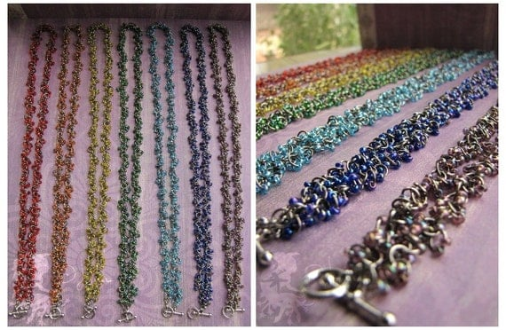StarString Necklace Bracelet - Chakra Colors Meditation Red Orange Yellow Green Blue Indigo Violet - My Own Rainbow Bridge