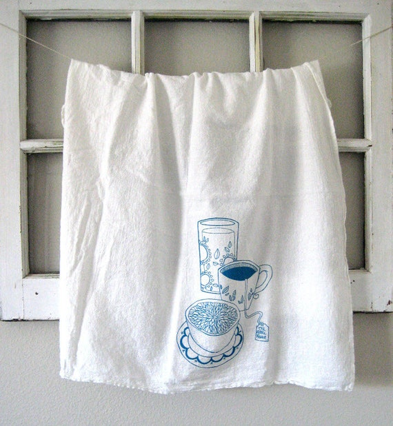 Oh Little Rabbit Sells These Organic Cotton Flour Sack Towel That Are Screen Printed With An Original Hand Drawn Mason Jar Tea Cup