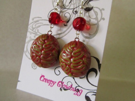 Zombie Brain earrings  infected with red bead accent