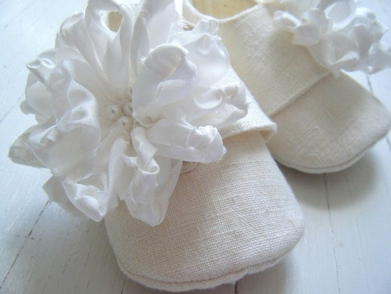 Органические Зимний Белый Конопля белье обувь с шелковыми цветами Для Девочки