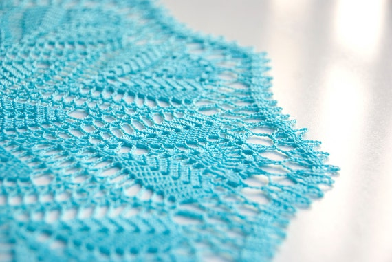Spring Decor // Turquoise // Doily // Hand Crocheted // Gift for the home