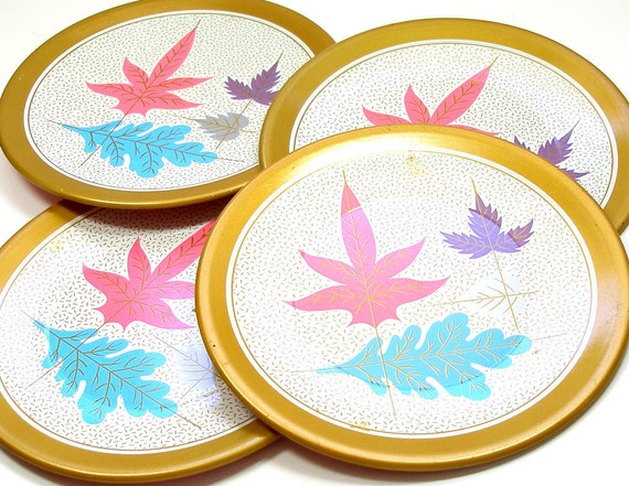50s Tin Toy tea plates, Golden Leaves set of 4 matching by Ohio Art.