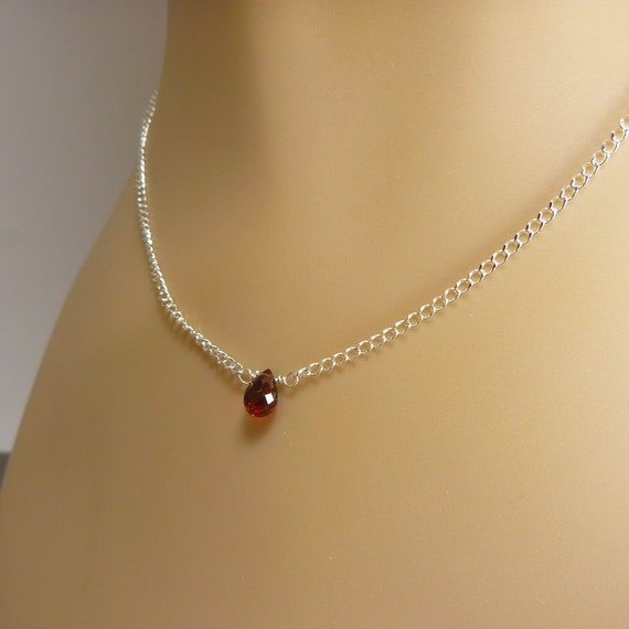 Garnet Necklace with Sterling Silver - Pyrope Garnet - Brick Red Color