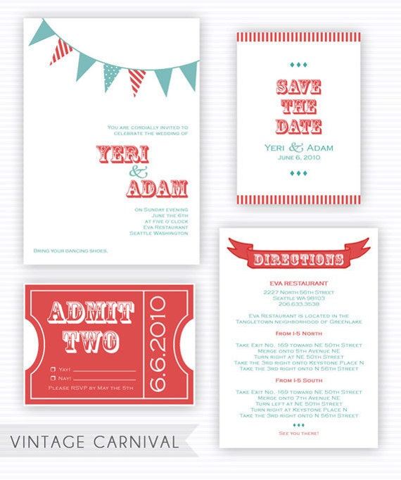 Printable Vintage Carnival Wedding Invitation Template From YeriYunDesigns