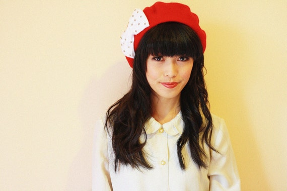 clementine bow beret - red with white bow