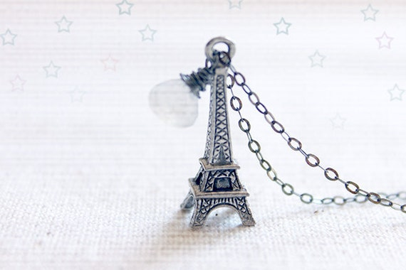 Paris Eiffel Tower Necklace - fun oxidized sterling silver and moonstone jewelry by petitor