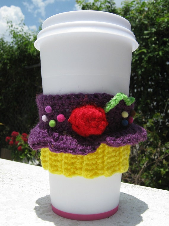 Plum Purple Cupcake Coffee Cozy by PinkFrog4U on Etsy from etsy.com