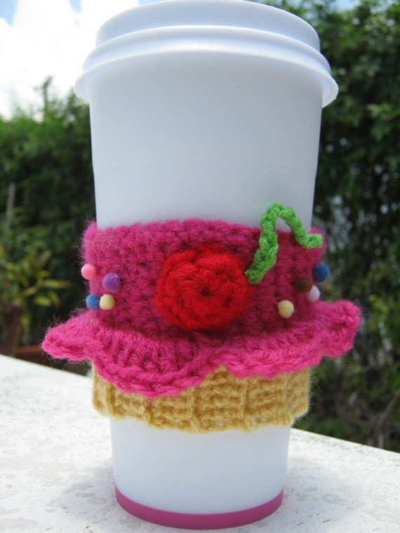 Coffee Cozy Berrylicious Cupcake by PinkFrog4U on Etsy from etsy.com