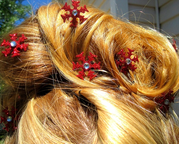 Red Glitter Snowflake Hair Pins