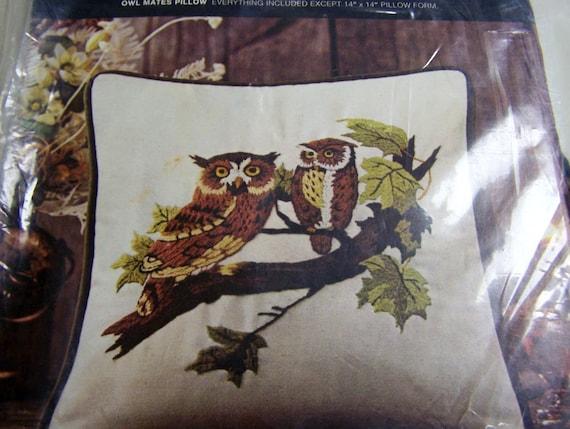 Vintage Crewel Embroidery Kit Owl Mates Pillow Kit