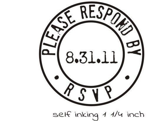 RSVP Please respond by rubber stamp for wedding invitation 1""