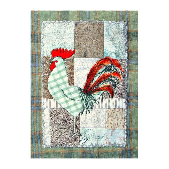 Handmade textile rooster bag - green