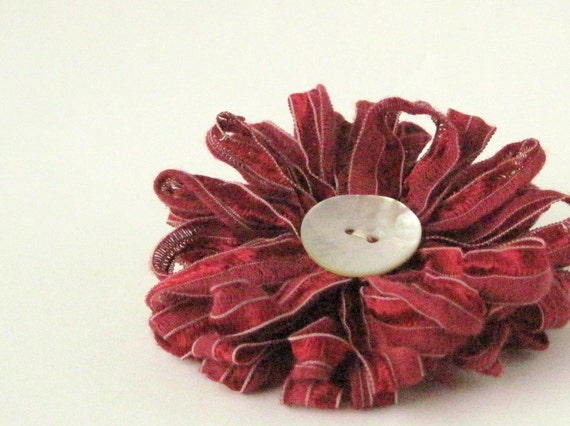 Flower Brooch in Wine Red Ribbon