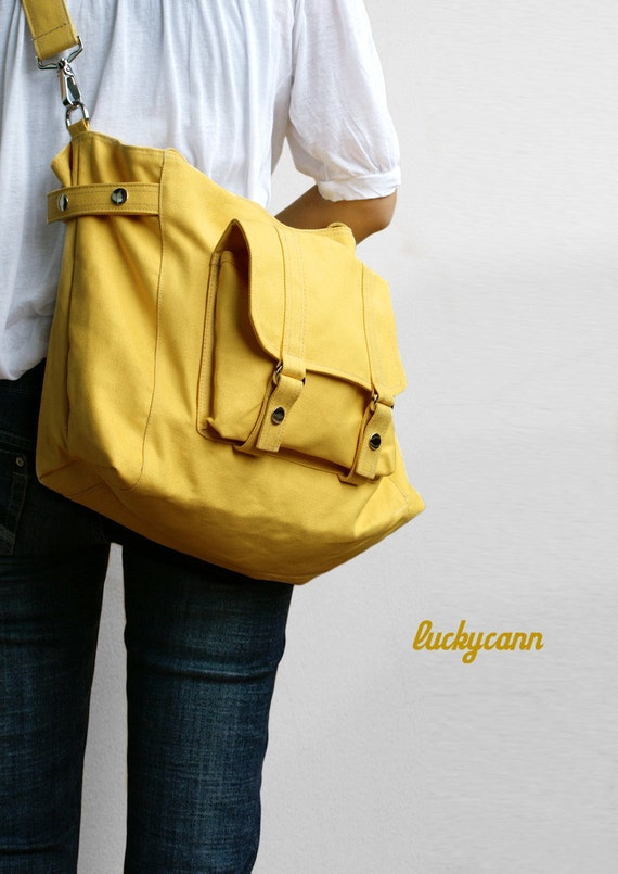 CARSON in LemonChiffon // Everyday Canvas Bag handmade by Luckycann // Sale