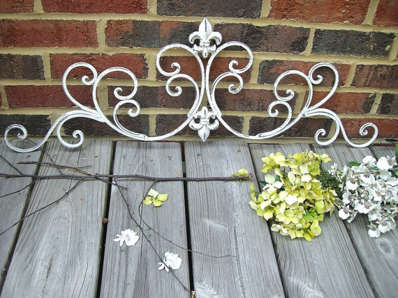 Bright White, Antiqued and then Distressed, Indoor/Outdoor Handpainted Wrought Iron Fleur De Lis Scroll