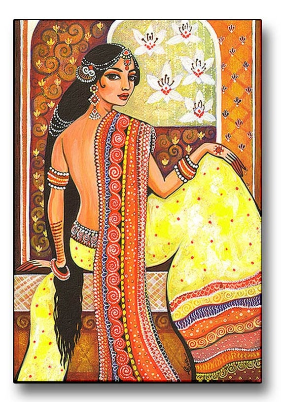Bharat - India - Painting - Art Print Mounted on Wood Block