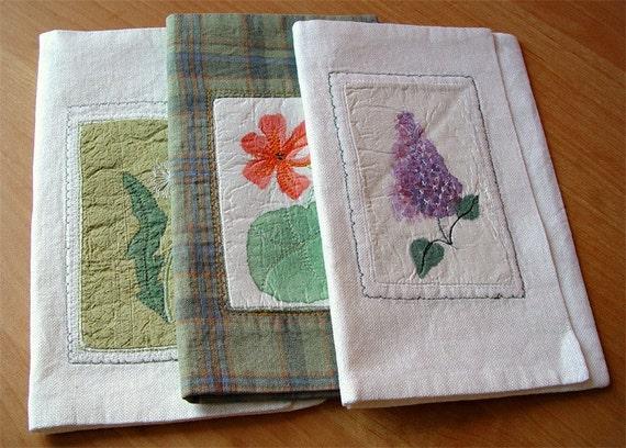Handmade linen wallet - dandelion