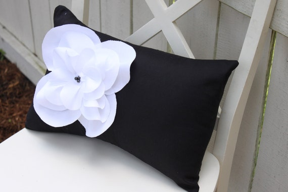 Black Shabby Chic Fraying Flower Pillow with Black Pearl Accents