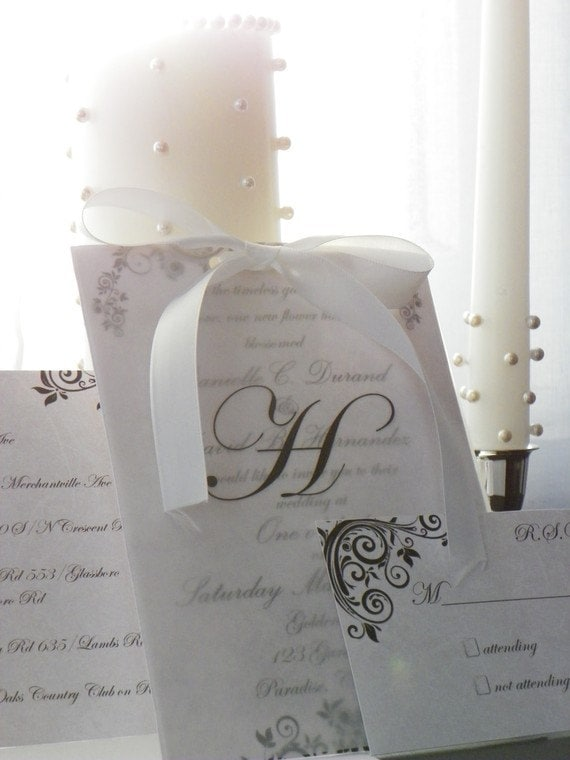 Elegant Wedding Invitation with Vellum Overlay (Deposit)