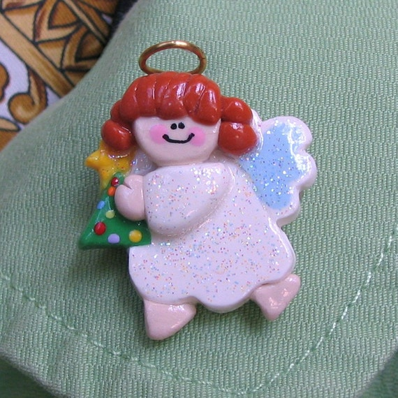 Angel Hugging Christmas Tree Polymer Clay Pin