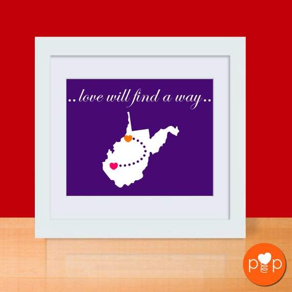 Long Distance Love Art Print - STATE - 11 x 14 Poster