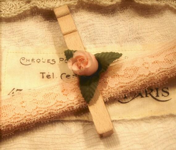 Новые To My гнездо ...  3 метров Vintage Персиковый / Розовый Кружева Peg прищепка / Цветок
