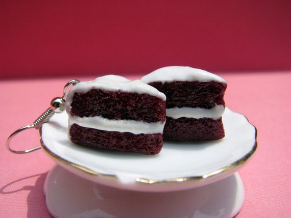 Fluffy Red Velvet Cake with Cream Cheese Frosting Polymer Clay Earrings