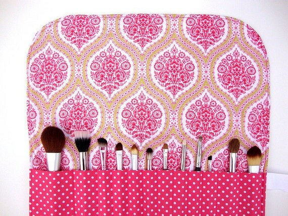 Makeup Brush Roll, Large-  Pink and Green Paisley