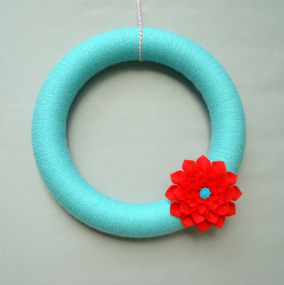 "Turquoise Yarn Wreath and Felt Flower, 12"" Modern Door Wreath, Aqua, Turquoise, Red, Dahlia Felt Flower, Heartfelt Yarn Wreaths"