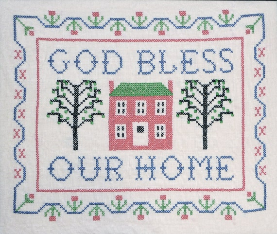 Jane Snead Samplers Vintage Cross Stitch Kit 314 God Bless Our Home