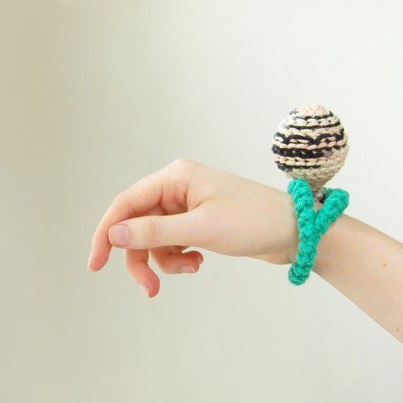 tribal textile pod bracelet in white / sea green / cream / black
