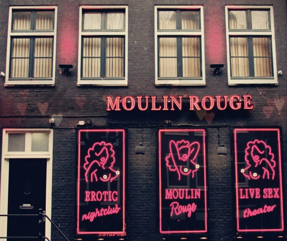 Mature Print - 8x10 Adult Photography - Moulin Rouge, Red Light District - Burlesque Amsterdam, Women, Nude - Hearts, Hot Pink, Sensual