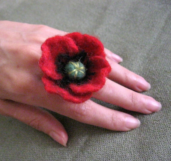 Red Poppy ... Felt Flower  Ring