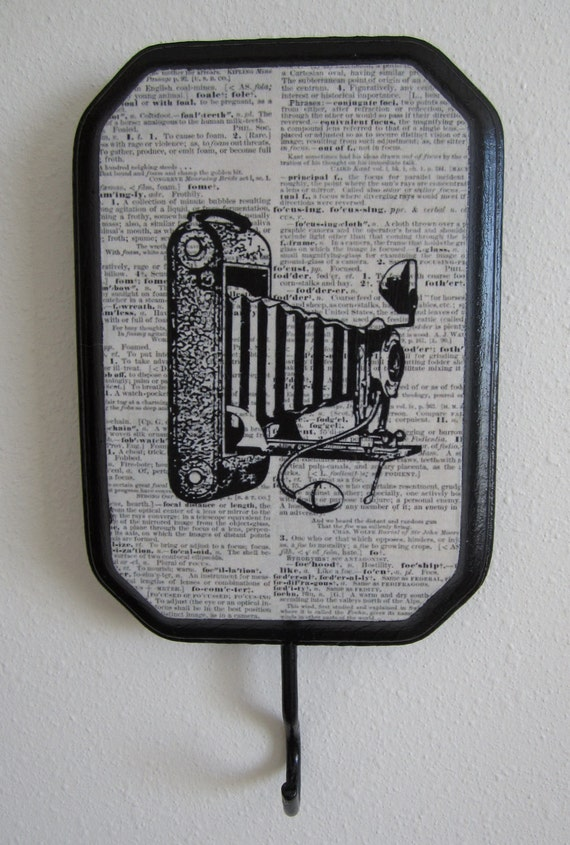 Vintage Camera Dictionary Page Wall Hook