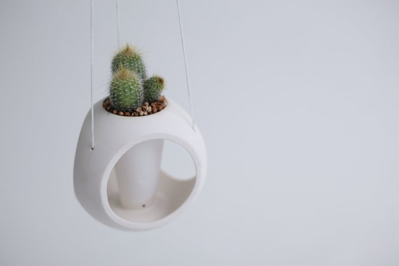 Hanging Sphere - porcelain planter