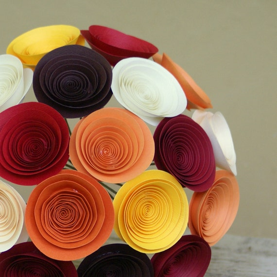 Autumn Wedding Bouquet - Handmade Paper Flower Bouquet - Fall Wedding - Pumpkin, Marigold, Crimson, Chocolate Brown, and Ivory