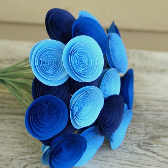 Blue Paper Flowers Centerpiece - Boy Baby Shower Decor - Blue Centerpiece - Royal Blue, Sodalite Blue, Navy, Cornflower