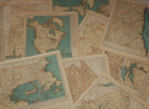 RESERVED Listing for Jessica  Antique Map of Connecticut: Collier's World Atlas and Gazetteer by Rand McNally 1930's