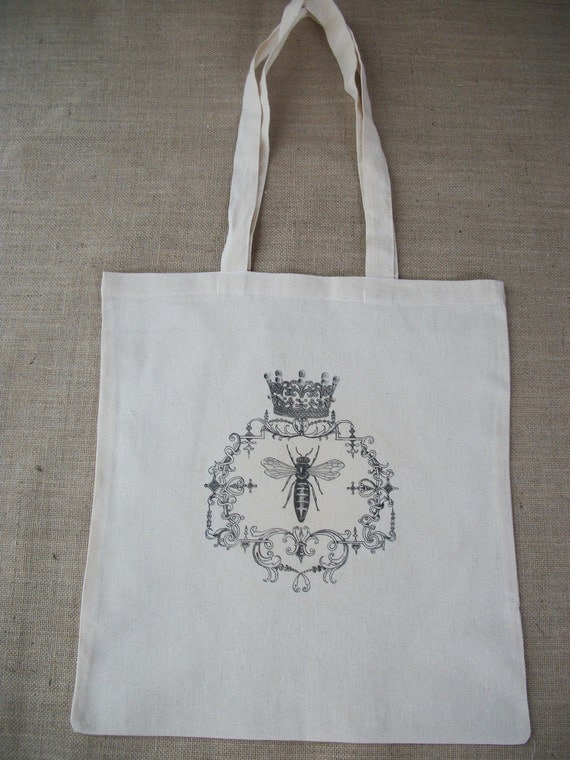 20% OFF SALE -  Queen Bee Crown Cotton Eco Shopper Tote Shoulder Bag
