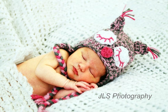 Earflap Sleepy Owl Hat - Custom Made in Many Colors