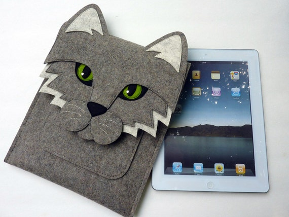 iPad 2 sleeve - Cat - Gray designer felt