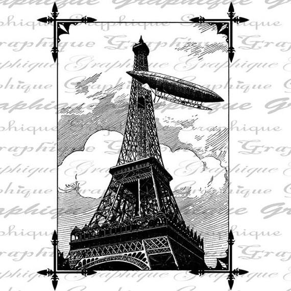 Dirigible Hot Air Ballon Flies By Eiffel Tower Paris France Digital Image Download Transfer To Pillows Tote Tea Towels Burlap No.2599