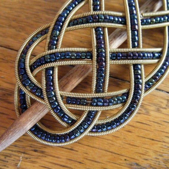 Navy and Gold beaded guitar string barrette small