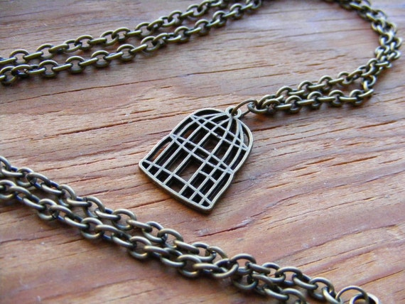 Necklace Bronze Bird Cage