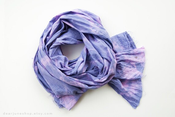 CLOUD PURPLE - tie dyed cotton scarf. Hand dyed. Oversized, lightweight wrap, shawl. Fashion, women accessories. Holiday gift.